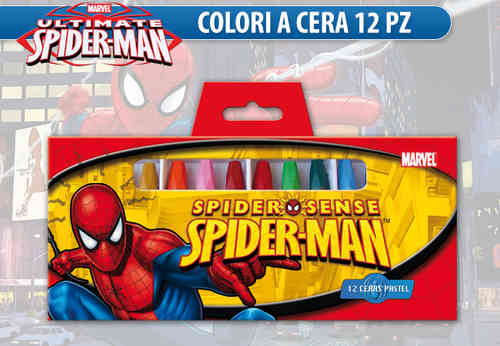 12 ceras de colores spiderman