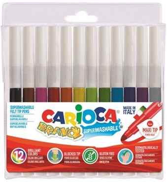 12 super washable felt tip pens CARIOCA