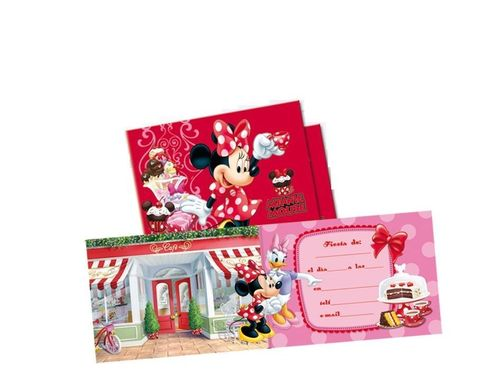 6 invitaciones Minnie