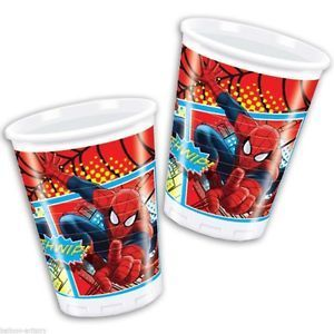 8 gobelet plastique Spiderman 200ml
