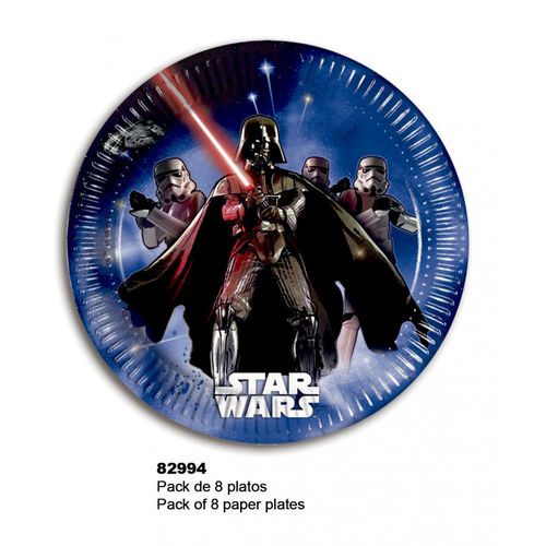 8 platos papel Star wars 19,50 cm