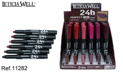 CRAYON À LEVRES 24H. PERFECT COLOR 6 COULEURS(0.65€ UNITE) PACK 24 LETICIA WELL