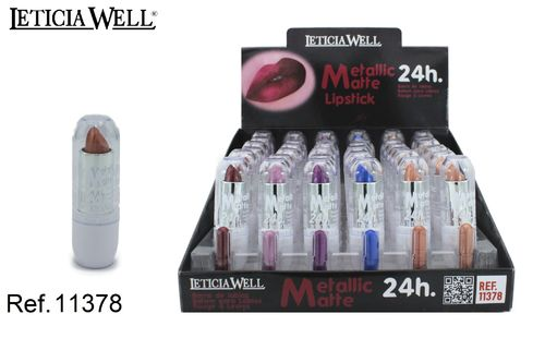BARRA DE LABIOS METALLIC MATTE 24H 6 color(0.59€ UNIDAD) PACK 36 LETICIA WELL