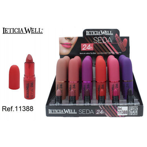 BARRA DE LABIOS SEDA 6 color(0.88€ UNIDAD) PACK 24 LETICIA WELL
