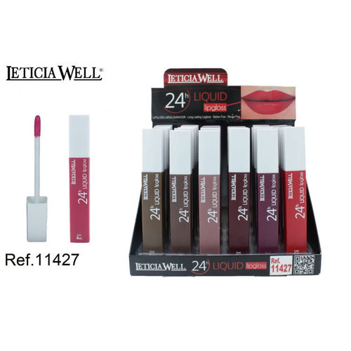 LIPGLOSS LIQUID 24H. 6 COULEURS (0.68€ UNIDTE) PACK 24 LETICIA WELL