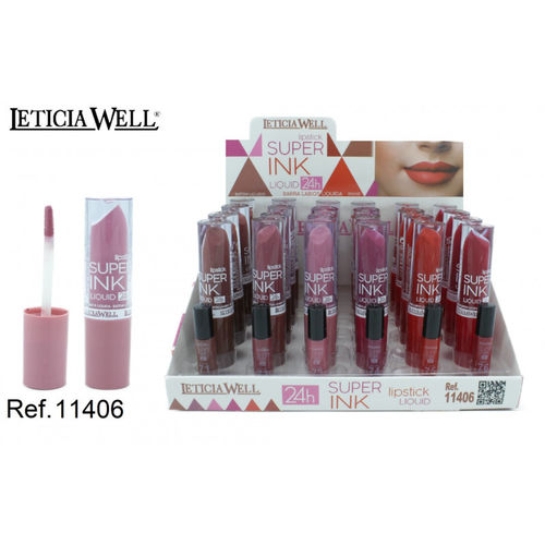BARRA DE LABIOS LIQUIDA SUPER INK 24H.(0.65€ UNIDAD) PACK 24 LETICIA WELL