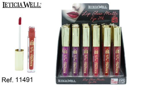 LIPGLOSS MATTE FIJO 24H HD 6 color(0.65€' UNIDAD) PACK 24 LETICIA WELL