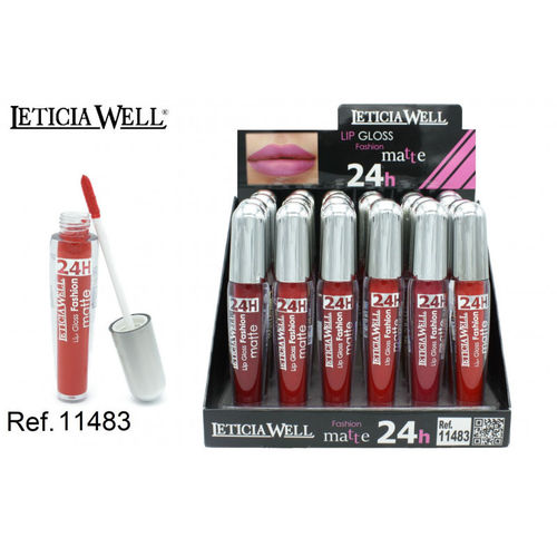 LIPGLOSS FASHION MATTE 24H 6 color(0.65€' UNIDAD) PACK 24 LETICIA WELL