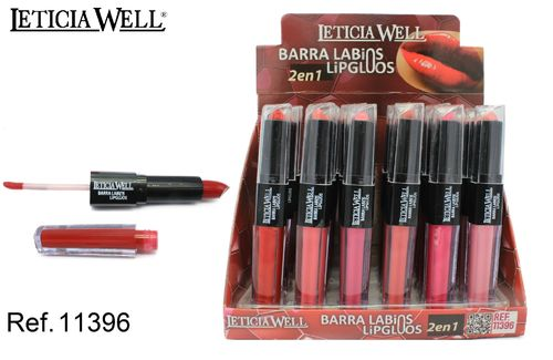 BARRA DE LABIOS+LIP GLOSS 2 EN 1 6 COLORES (0.82€' UNIDAD) PACK 24 LETICIA WELL
