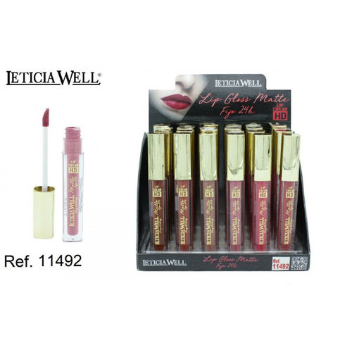 LIPGLOSS MATTE FIJO 24H. 6 COLORES HD (0.59€' UNIDAD) PACK 24 LETICIA WELL