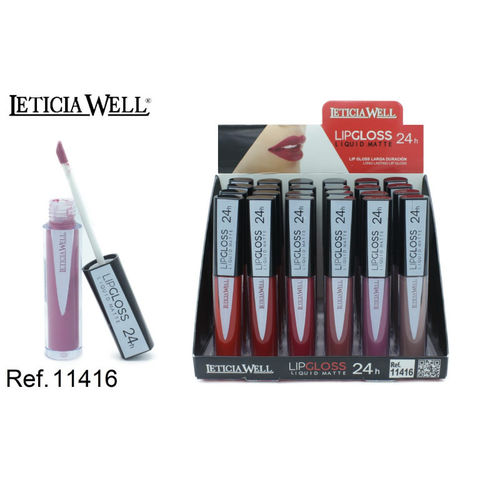 LIPGLOSS MATTE 24H 6 color(0.69€ UNIDAD) PACK 24 LETICIA WELL