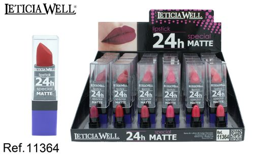 BARRA DE LABIOS SPECIAL MATTE 24H 6 color(0.69€'UNIDAD) PACK 24 LETICIA WELL