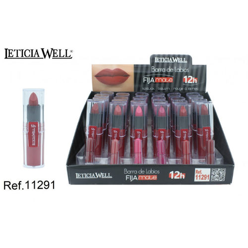 BARRA DE LABIOS FIJA 12H 6 color(0.75€UNIDAD) PACK 24 LETICIA WELL