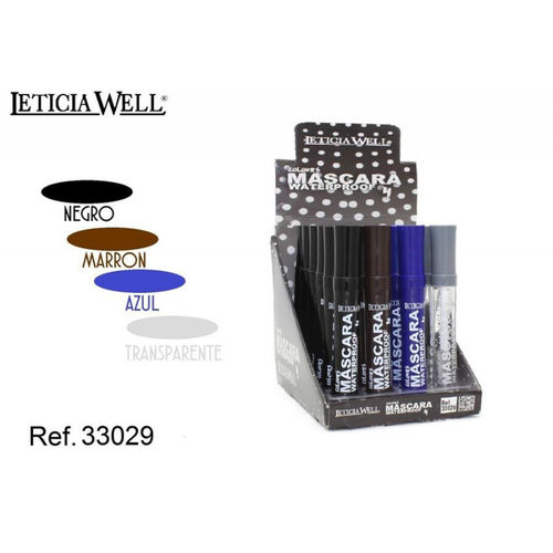 MASCARA 4 COLOURS WATERPROOF LETICIA WELL(0.55€ UNIDAD)PACK 24 12.5CM.