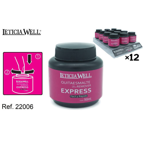 QUITAESMALTE REMOVER EXPRESS 50ML.(0.65€'UNIDAD) PACK 12 LETICIA WELL