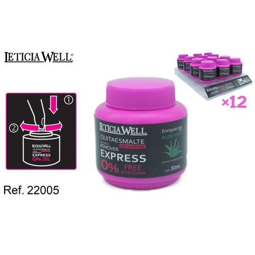 QUITAESMALTE REMOVER EXPRESS 50ML.(0.65€' UNIDAD) PACK 12 LETICIA WELL
