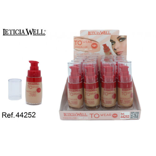 MAQUILLAJE FLUIDO 4 COLORES TO WEAR 12H.(1.15€ UNIDAD) PACK 16 LETICIA WELL