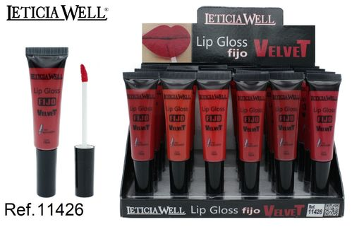LIPGLOSS FIJO VELVET 6 COLORES (0.65€' UNIDAD) PACK 24 LETICIA WELL