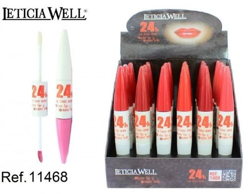 LIPGLOSS DOBLE COLOR FIJO + SUPER BRILLO 24H (0.75€' UNIDAD) PACK 24 LETICIA WELL