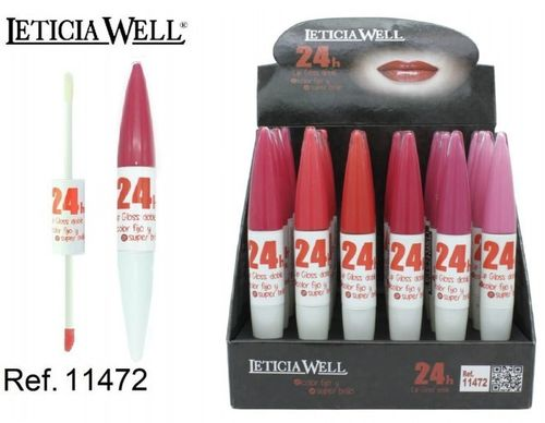 LIPGLOSS DOBLE COLOR FIJO + SUPER BRILLO 24H (0.75€'UNIDAD) PACK 24 LETICIA WELL