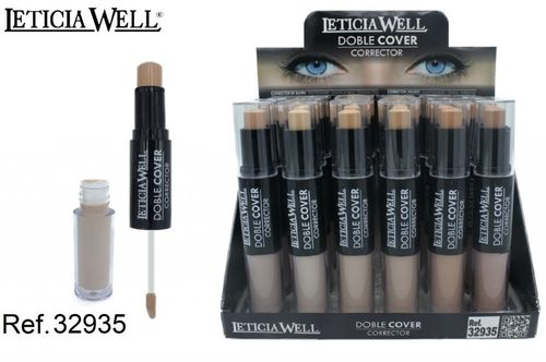 CORRECTOR DOBLE COVER LIQUIDO (0.85€'UNIDAD) PACK 24 LETICIA WELL