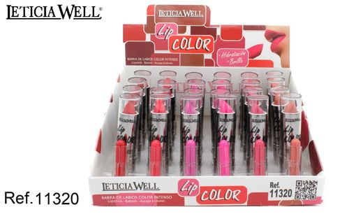 BARRA DE LABIOS LIP COLOR(0.50€ UNIDAD) PACK 24 LETICIA WELL