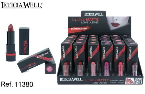 BARRA DE LABIOS LONG LASTING MATTE (0.99€ UNIDAD) PACK 24 LETICIA WELL